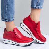 Pantofi casual dama piele naturala rosii Catrina -rl