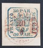 "ROMANIA 1864 PRINCIPATELE UNITE II, 30 par. PE FRAGMENT-STAMPILA-"" BUCURESCI"", Stampilat"