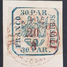 """ROMANIA 1864 PRINCIPATELE UNITE II, 30 par. PE FRAGMENT-STAMPILA-"""" BUCURESCI"""""""