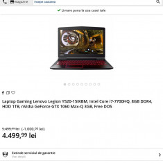 Laptop Gaming Lenovo Legion Y520,i7-7700HQ,GTX 1060