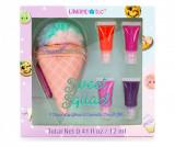Cumpara ieftin Set 4 balsamuri de buze si geanta pentru cosmetice
