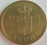 Moneda 1 COROANA - DANEMARCA, anul 1978 *cod 4595, Europa