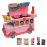 Premergator cu bucatarie si autobuz de jucarie, sunete si lumini pentru copii - W018