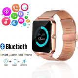 Ceas Smartwatch cu Telefon iUni Z60, Curea Metalica, Touchscreen, Camera, Notificari, Antizgarieturi, Gold