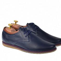 Pantofi casual - sport barbati din piele naturala TOMISBOXBL, 39 - 44, Bleumarin
