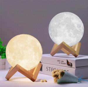 Umidificator lampa veghe, luna 3D cu suport de lemn, 880 ml