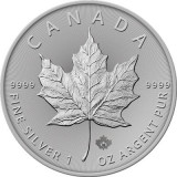 Moneda argint 999 lingou, Maple Leaf Canada 2020, 1 uncie = 31 grame