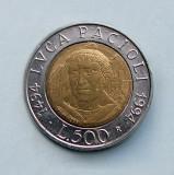 ITALIA  -  500 Lire 1994  -  Luca Pacioli