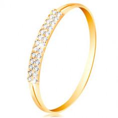 Inel din aur 585, brațe cu decupaje pe laterale, linie din zirconii tranparente - Marime inel: 49