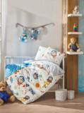 Set lenjerie de pat pentru copii, Cotton Box, bumbac ranforce, 120 x 150 cm, 129CTN1802, Multicolor
