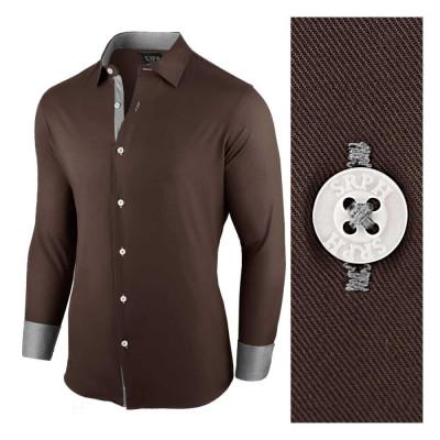 Camasa pentru barbati maro inchis regular fit casual Business Class Ultra foto