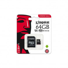Card de memorie Kingston microSDXC Canvas Select 80R 64GB Clasa 10 UHS-I U1 80 Mbs cu adaptor SD
