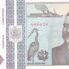 Bancnota Romania 200 Lei 1992 - P100 UNC ( numar de serie mic - 000020 )