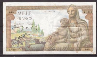Franta 1943(18-2) - 1000 francs, circulata foto