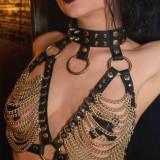 Cumpara ieftin Sutien Straps Piele Lant Gotic Harness Open Bust Fetish Bondage BDSM Steampunk, Negru, One size
