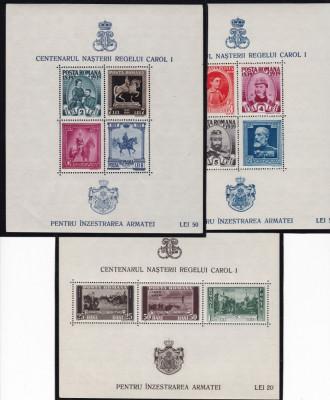 ROMANIA1939/40 LP 133 CENTENARUL CAROL I PENTRU INZESTAREA  ARMATEI  COLITE MNH foto