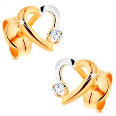 Cercei cu diamant, realizaţi din aur de 14K - contur inimă cu diamante mici