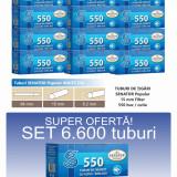 Ofertă! 6.600 Tuburi de tigari cu filtru alb Senator Popular 550 WHITE