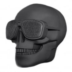Boxa portabila bluetooth X18 Bones, 2000 mAh, model craniu, Negru