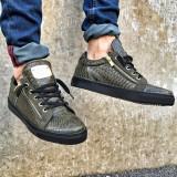 Pantofi casual pentru barbati, verzi, cu siret, model unic, piele ecologica, logo auriu - zipper, 40, 41