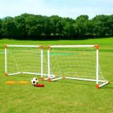 Set de 2 porti de fotbal cu pompa de umflat, minge de fotbal si 8 taruse