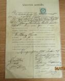 Manuscris din 1895 Maramures. Timbru fiscal cu valoarea de 50 kr.