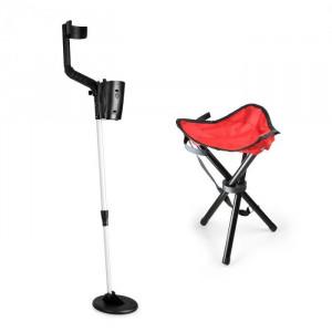 DURAMAXX Basic One Red, set pentru cautarea comorilor, detector de metale +scaun roșu și bobină de 16,5 cm