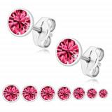 Cercei din argint 925 - zirconiu strălucitor de culoare roz în suport rotund - Dimensiune stras: 6 mm