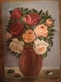Cumpara ieftin Trandafiri în oală de lut, ulei pe carton, 48x34 cm, semnat dreapta jos, Flori, Realism