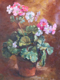 Pictură – tablou vechi românesc, Flori / Autoportret, semnat Costescu?