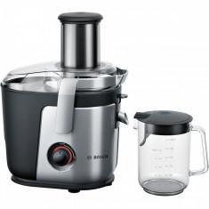 Storcator de fructe si legume Bosch MES4000, 1000 W, Recipient suc 1.5 l, Recipient pulpa 3 l, 2 Viteze, Tub de alimentare 84 mm, Argintiu/Negru