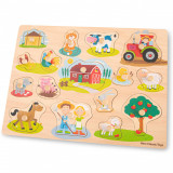 Puzzle lemn Ferma 17 piese NEW, New Classic Toys