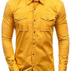 Cămașă pentru bărbat cu mâneca lungă galben-muștar Bolf 2058-1