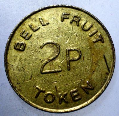 7.820 JETON MAREA BRITANIE BELL FRUIT 2P TOKEN 20mm foto