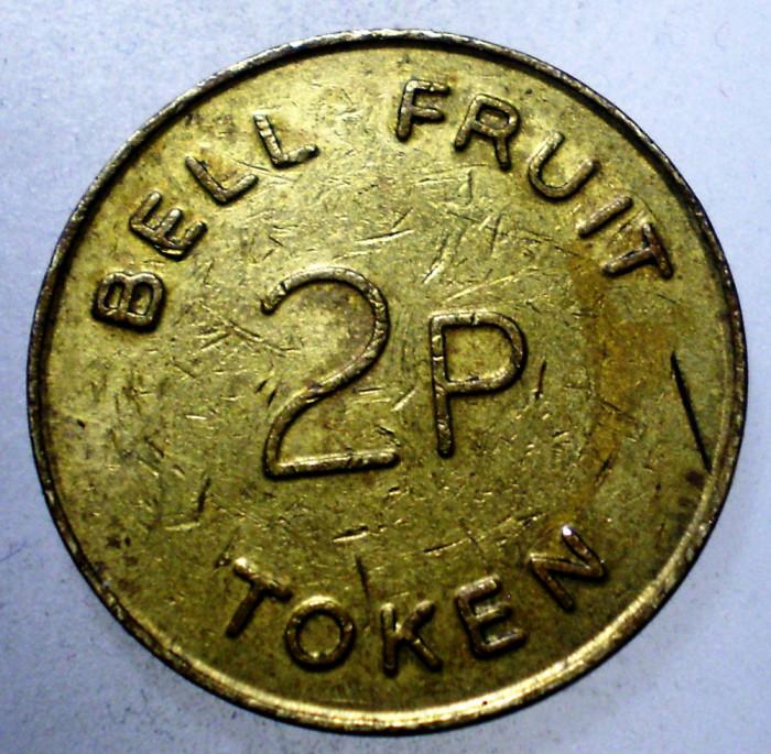7.820 JETON MAREA BRITANIE BELL FRUIT 2P TOKEN 20mm