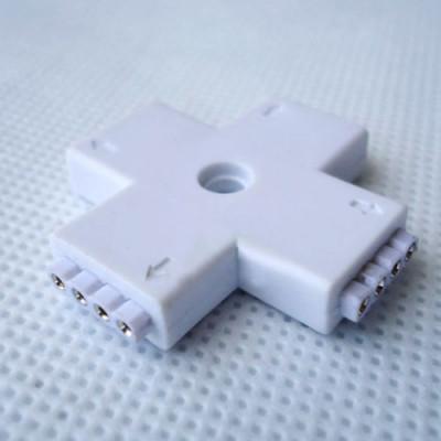 Conector FEMALE, cu 4 pini, pentru benzi led, RGB, 4 porturi, forma de + foto
