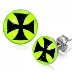 Cercei cu tijă din oţel - cerc cu o cruce malteză