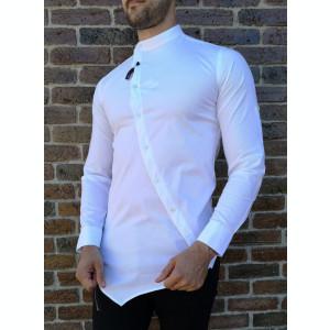 Camasa asimetrica alba- camasa barbat- camasa slim fit - cod 208