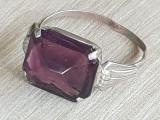 Inel AMETIST- argint - manufactura-bijuterie vintage, 57 - 67