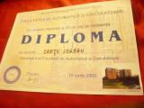 Diploma de Inginer profil Electric specializ. Automatizari si Calculatoare 1987