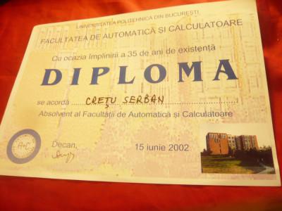 Diploma de Inginer profil Electric specializ. Automatizari si Calculatoare 1987 foto