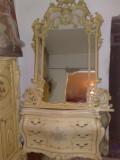 Comoda cu oglinda,SILIK,Italia,Baroc venetian/shabby, 1,45/2,5m,lemn,vintage, Comode si bufete, Dupa 1950