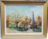 Tablou Ion Banar 1986 Peisaj Iași Obeliscul cu Lei pictura ulei 67x82cm, Peisaje, Realism