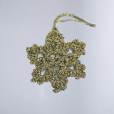 Decoratiune Craciun Fulg de zapada Handmade Crosetat Auriu 8 x 8 cm