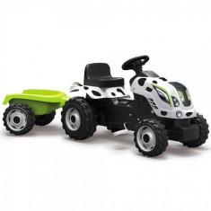 Tractor cu Pedale si Remorca Farmer XL Alb Negru