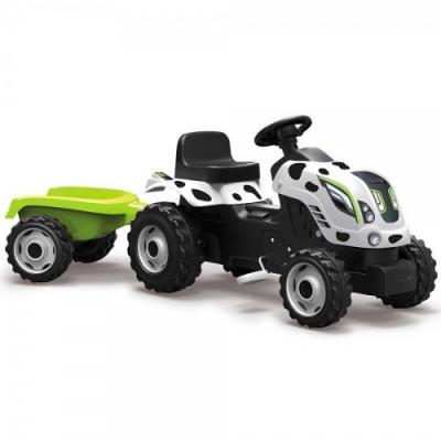 Tractor cu Pedale si Remorca Farmer XL Alb Negru foto