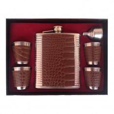 Set cadou pentru barbati Moongrass, 1 x sticla whiskey, 4 x pahare shoturi, palnie