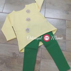 Compleu fete bluzita-colant galben-verde