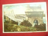 Ilustrata color Cernavoda -Podul Regele Carol I ,interbelica ,cu reclama Whatman, Circulata, Printata