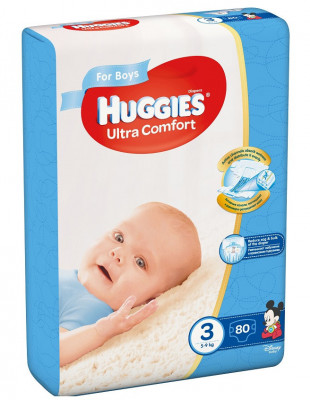 Scutece Huggies Ultra Confort Mega Pack 3, Baieti, 5–9 kg, 80 buc foto